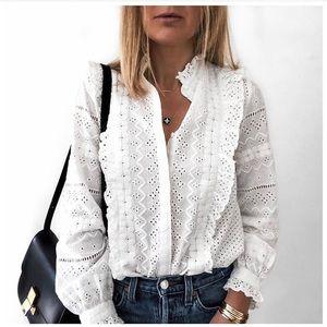 Zara White Cotton Embroidered Shirt Ruffled Top